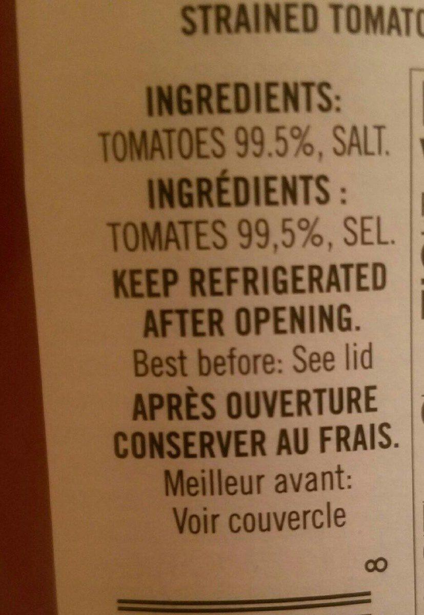 Passata - Ingrediënten - fr