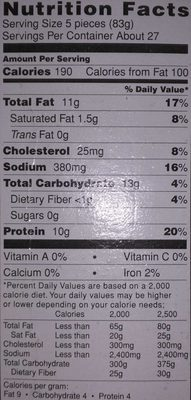Dino Buddies Chicken Breast Nuggets - Nutrition facts