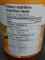 Puré marmalade orange, mandarine, pamplemousse et citron - Nutrition facts - fr
