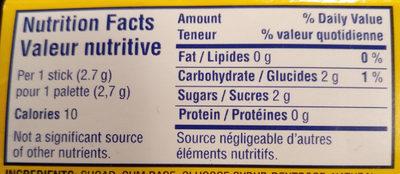 Juicy Fruit Gomme Sans Sucre L'originale - Nutrition facts