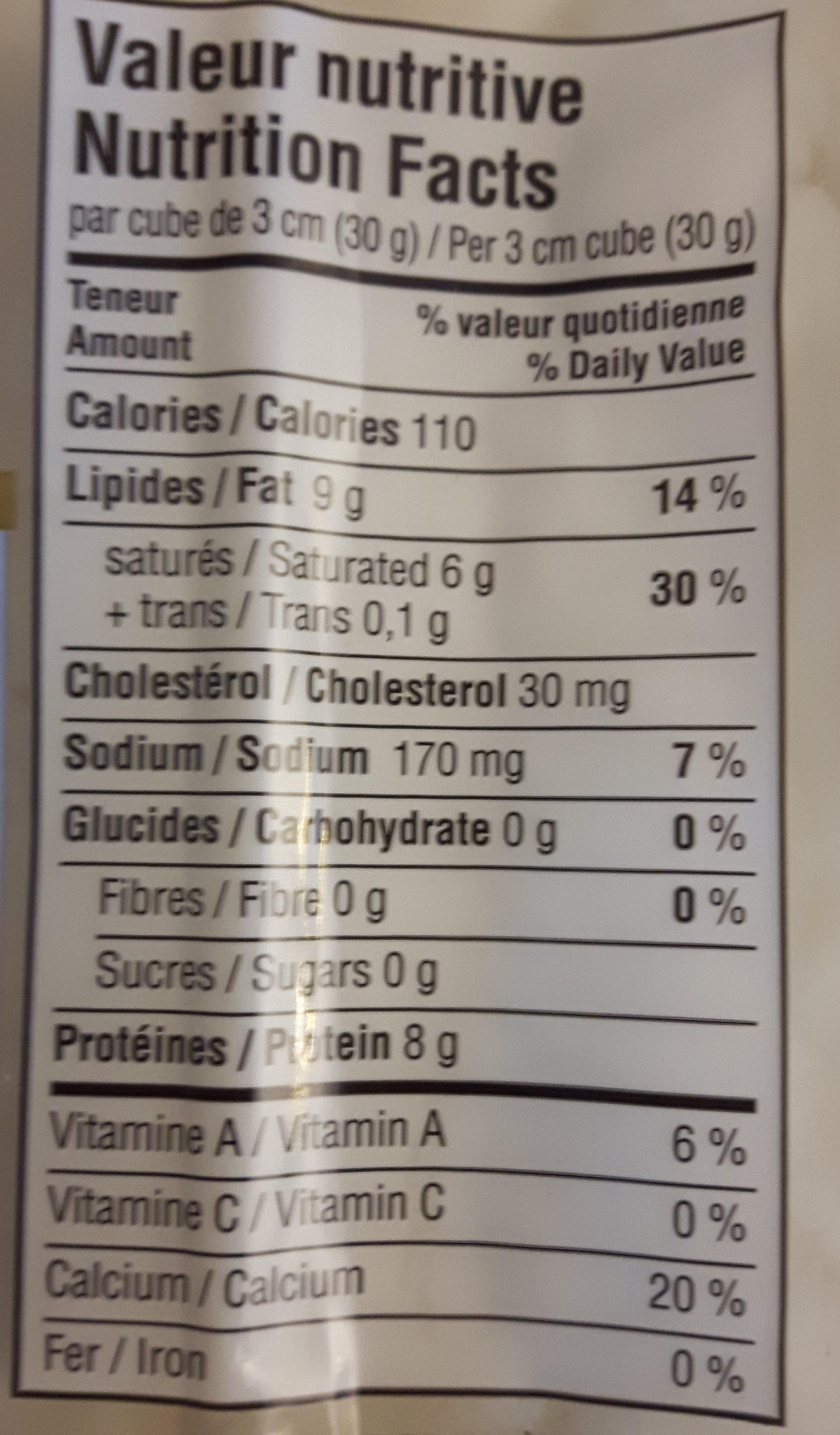 fromage cheddar de chèvre - Informations nutritionnelles - fr