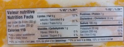 Fromage cheddar doux - Nutrition facts - fr