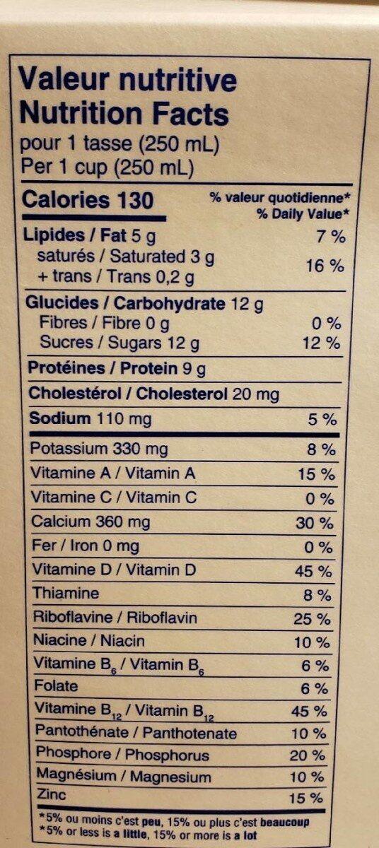 Lait 2% - Informations nutritionnelles - fr