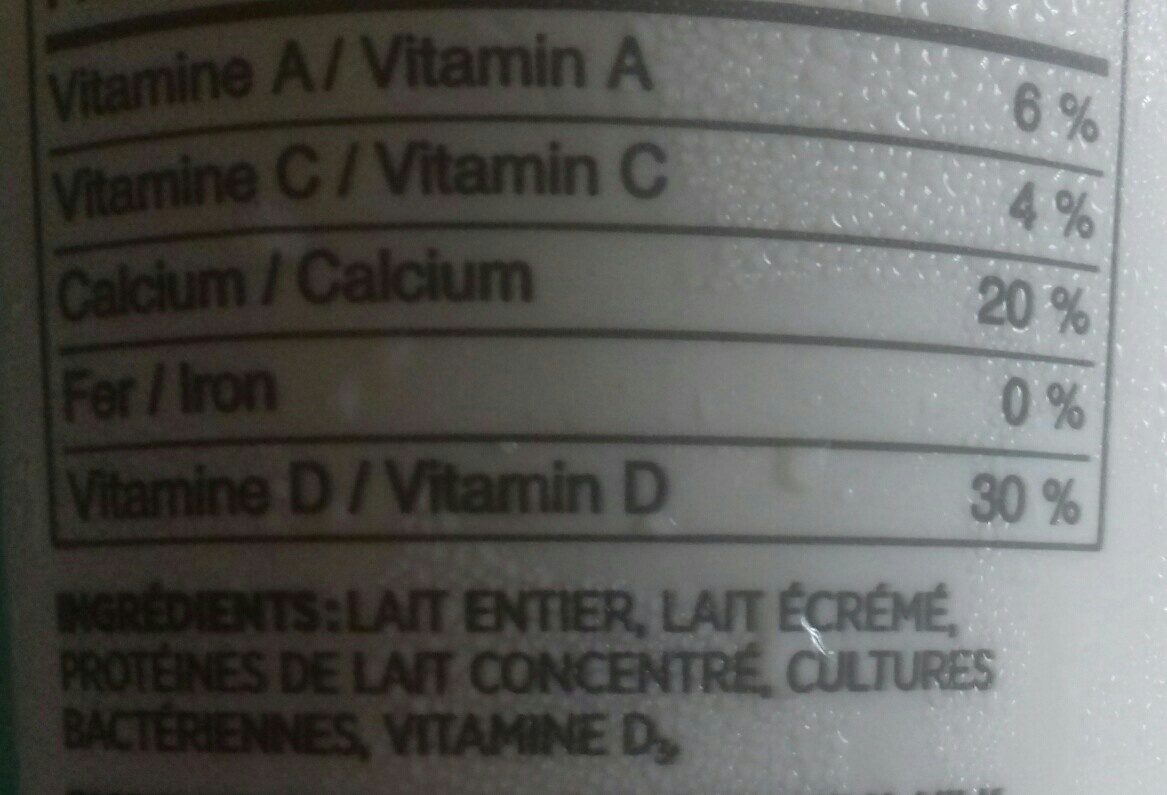 Yogourt ferme - Ingrédients - fr