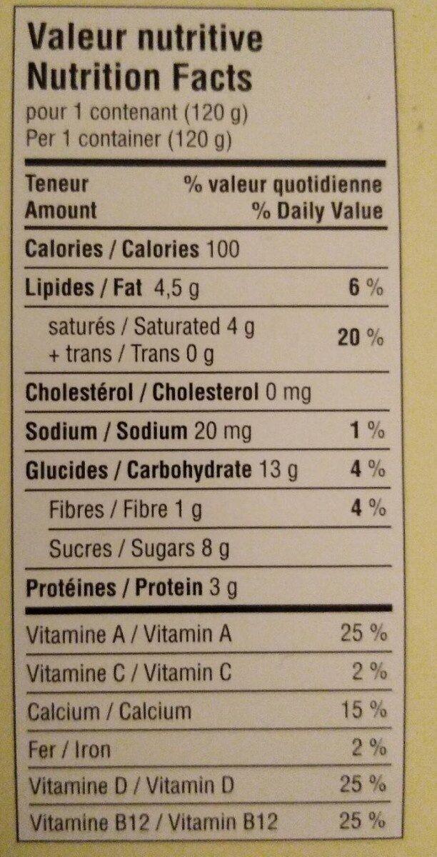 Délice végétal au lait de coco - Informations nutritionnelles - fr