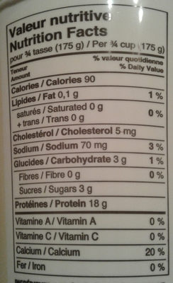 Yogourt nature grec 0% - Nutrition facts