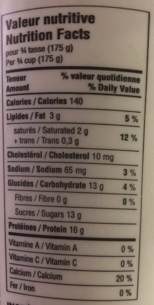 Yogourt Vanille - Nutrition facts
