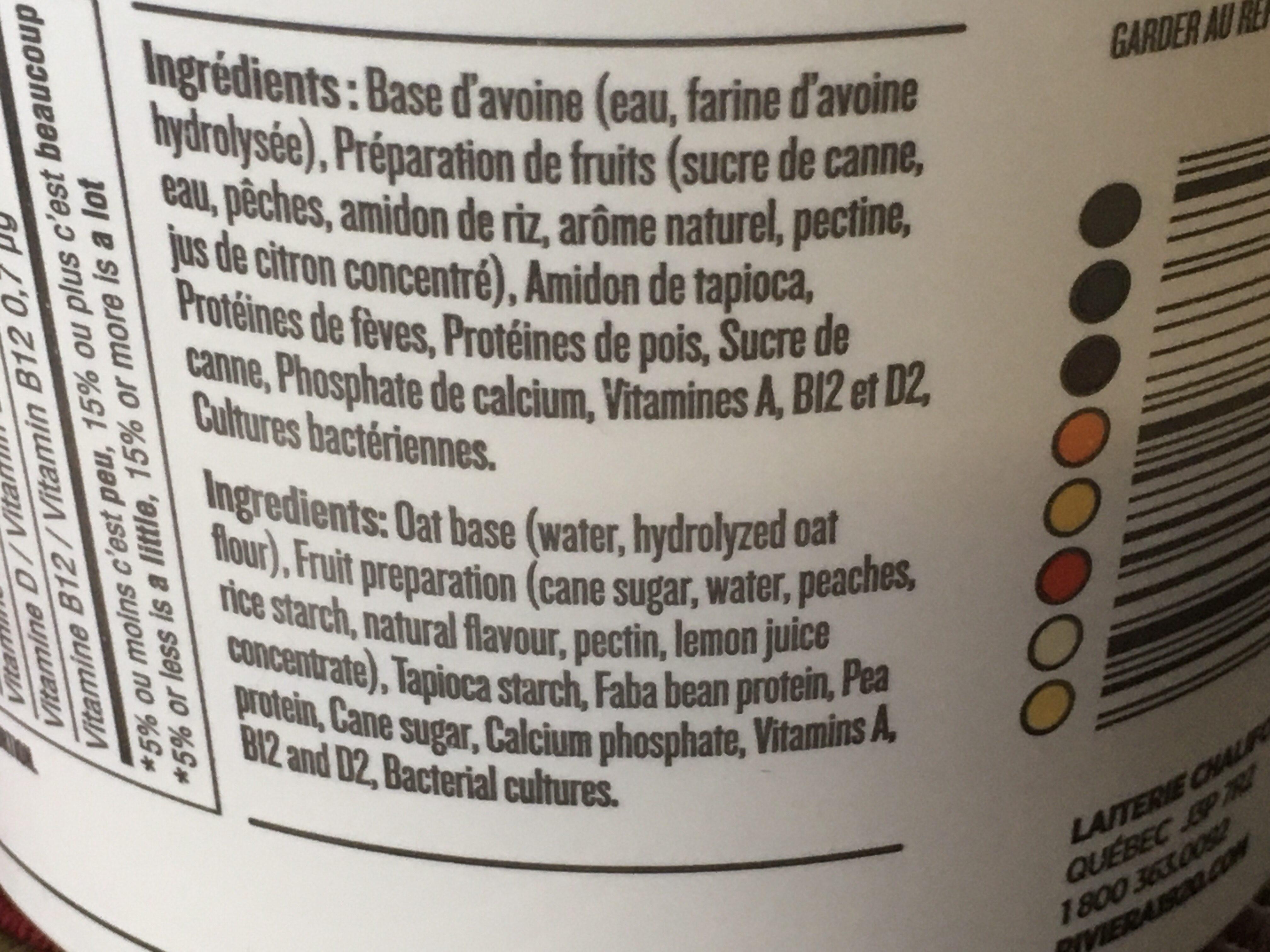 Délice végétal au lait d avoine à la pêche - Ingrédients - fr