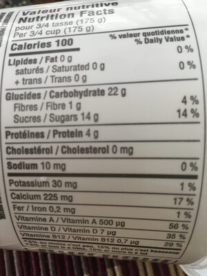 Délice végétal au lait d avoine à la pêche - Informations nutritionnelles - fr