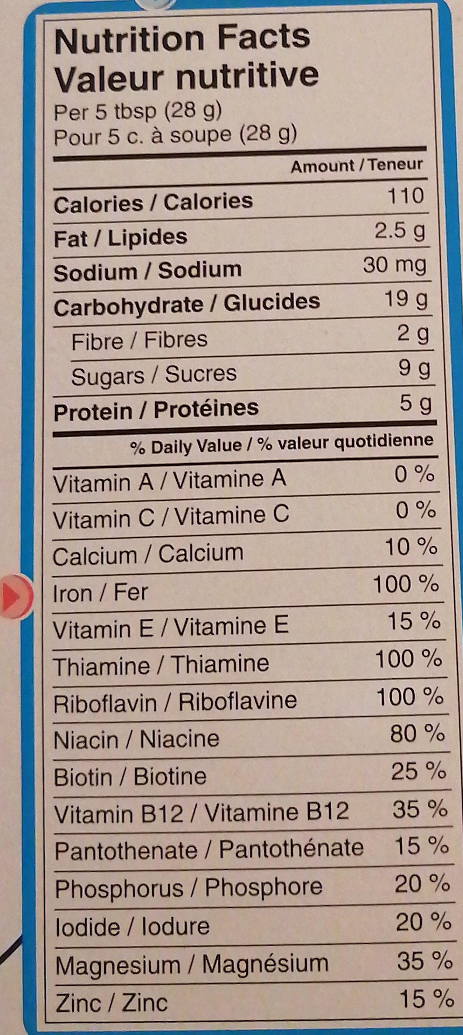 Nestlé Céréales Pour Bébés De Gerber - Avoine Et Pruneaux - Informations nutritionnelles - en