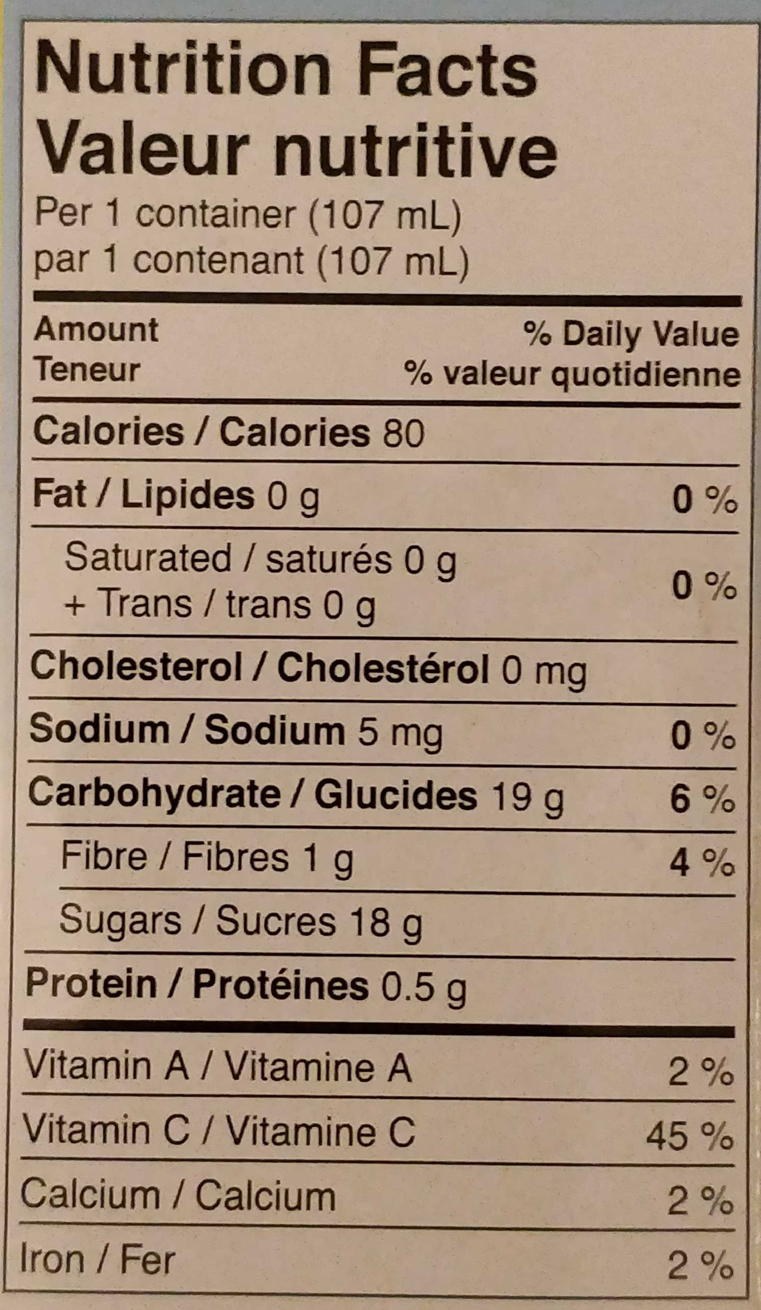 Pêches en dés - Nutrition facts