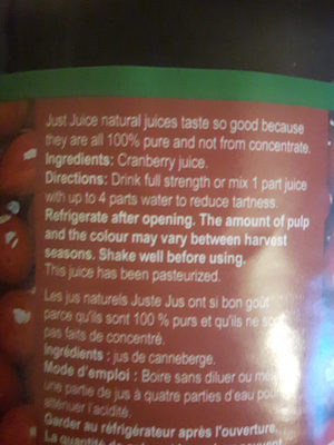 Just Juice Cranberry - Ingredients - en
