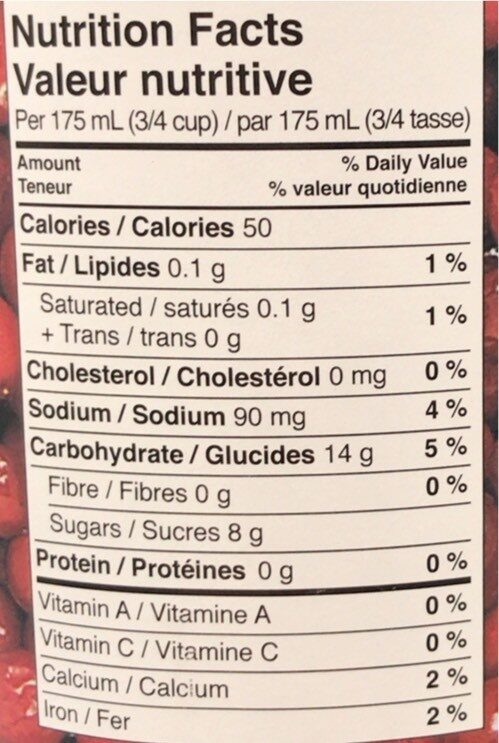 Just Juice Cranberry - Nutrition facts - en