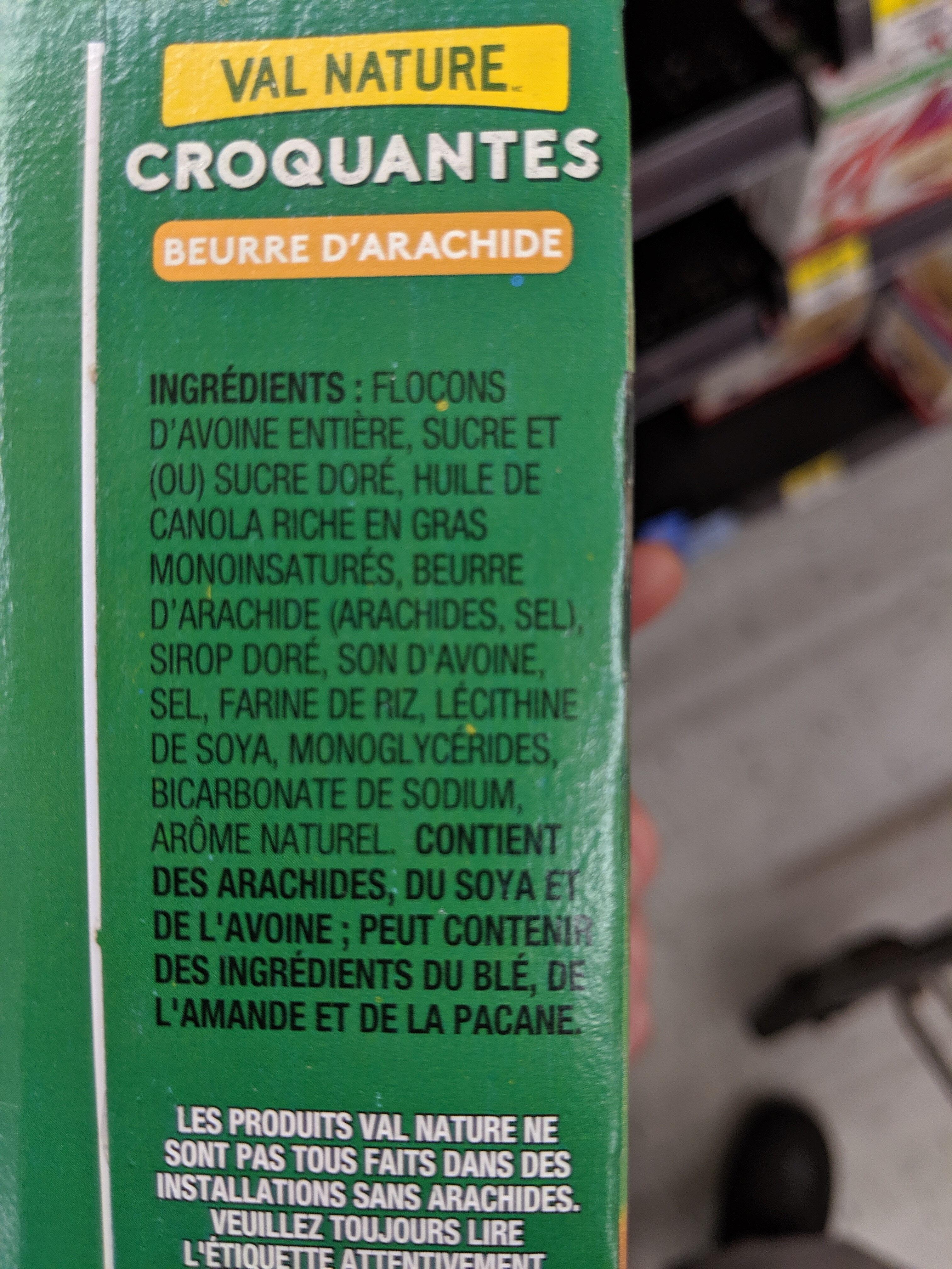 Barres Granola Croquantes Beurre d'Arachide - Ingredients - fr
