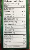 Barres Granola Croquantes Beurre d'Arachide - Nutrition facts