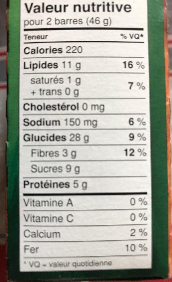 Barres Granola Croquantes Beurre d'Arachide - Nutrition facts - fr