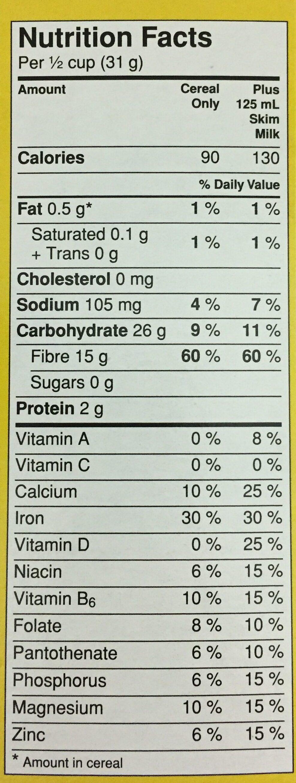 Fibre 1 Crunchy Original - Nutrition facts - en