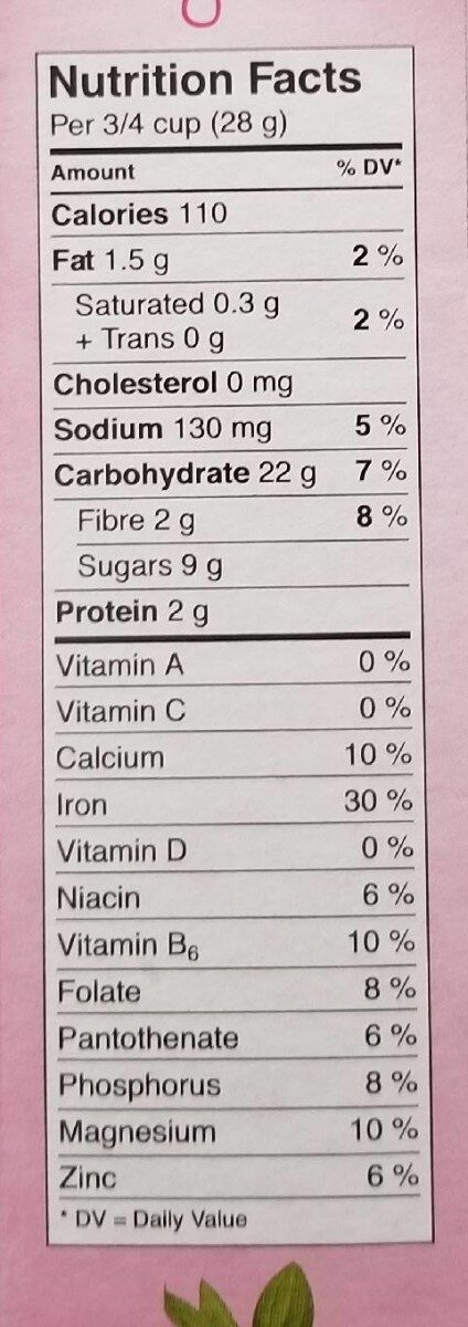 cheerios veryberry - Nutrition facts