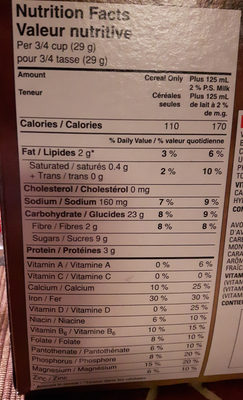cheerios chocolat - Informations nutritionnelles - fr