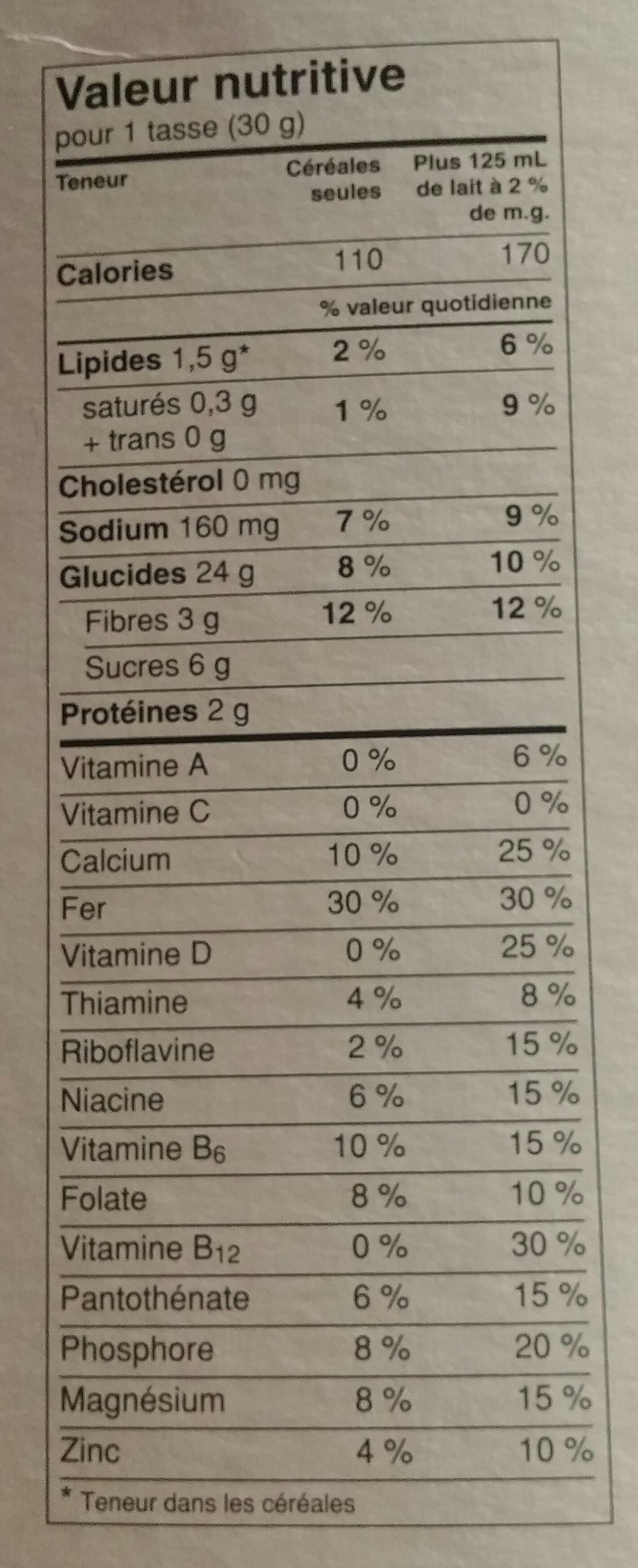 Multi grain cheerios - Informations nutritionnelles