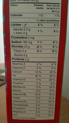 Lucky charms - Informations nutritionnelles
