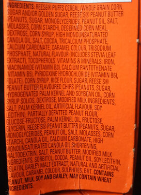 Reese Puffs (cereal bars) - Ingredients