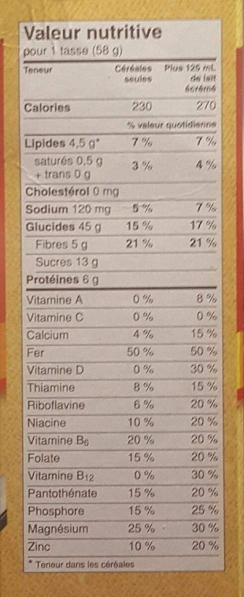 Oatmeal Crisp Almond - Nutrition facts - fr