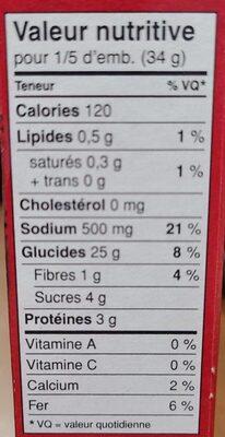 Hamburger helper, 3 cheese manicotti - Informations nutritionnelles - fr