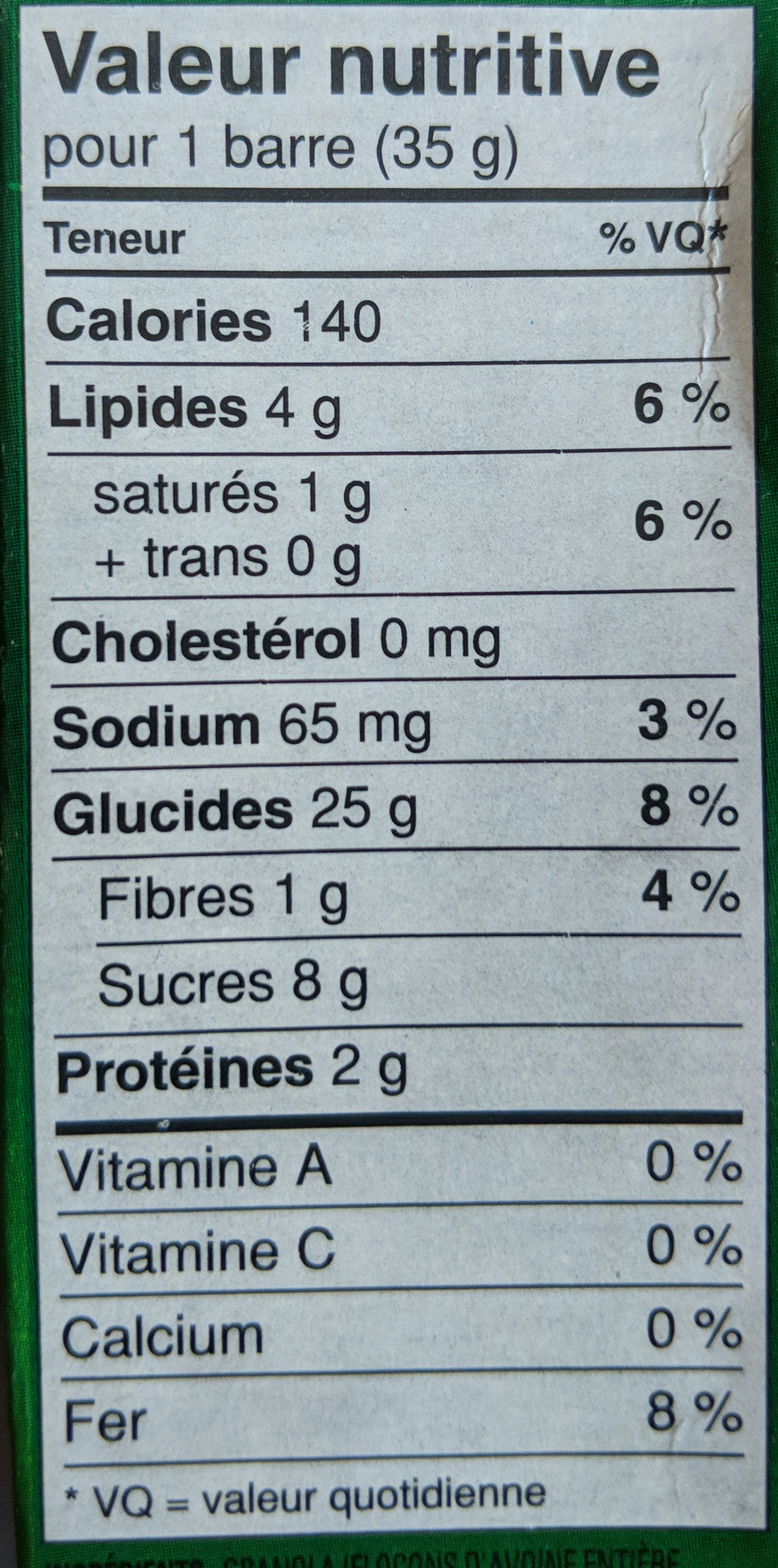 Nature Valley Trail Mix Bars - Informations nutritionnelles - fr