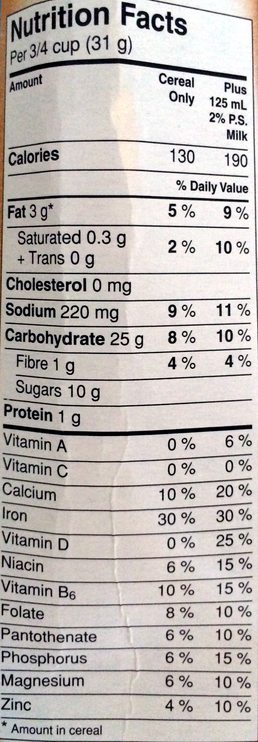 Cinnamon Toast Crunch - Nutrition facts - en