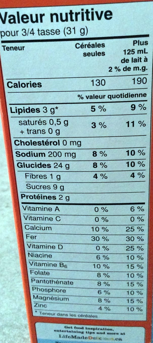 Reese Puffs Cereals - Informations nutritionnelles - fr