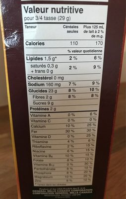 Cheerios Miel & Noix - Informations nutritionnelles - fr