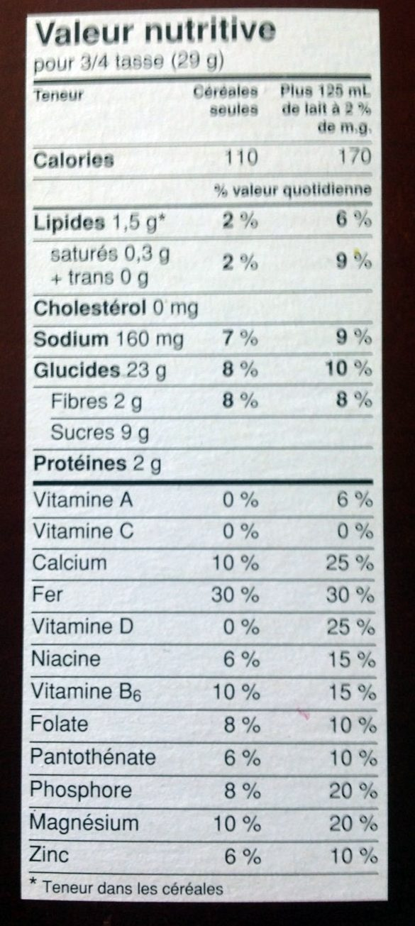 Honey Nut Cheerios au miel et aux noix - Nutrition facts - en