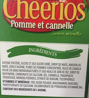 Céréales Cheerios (pommes & Cannelle) - Ingredients