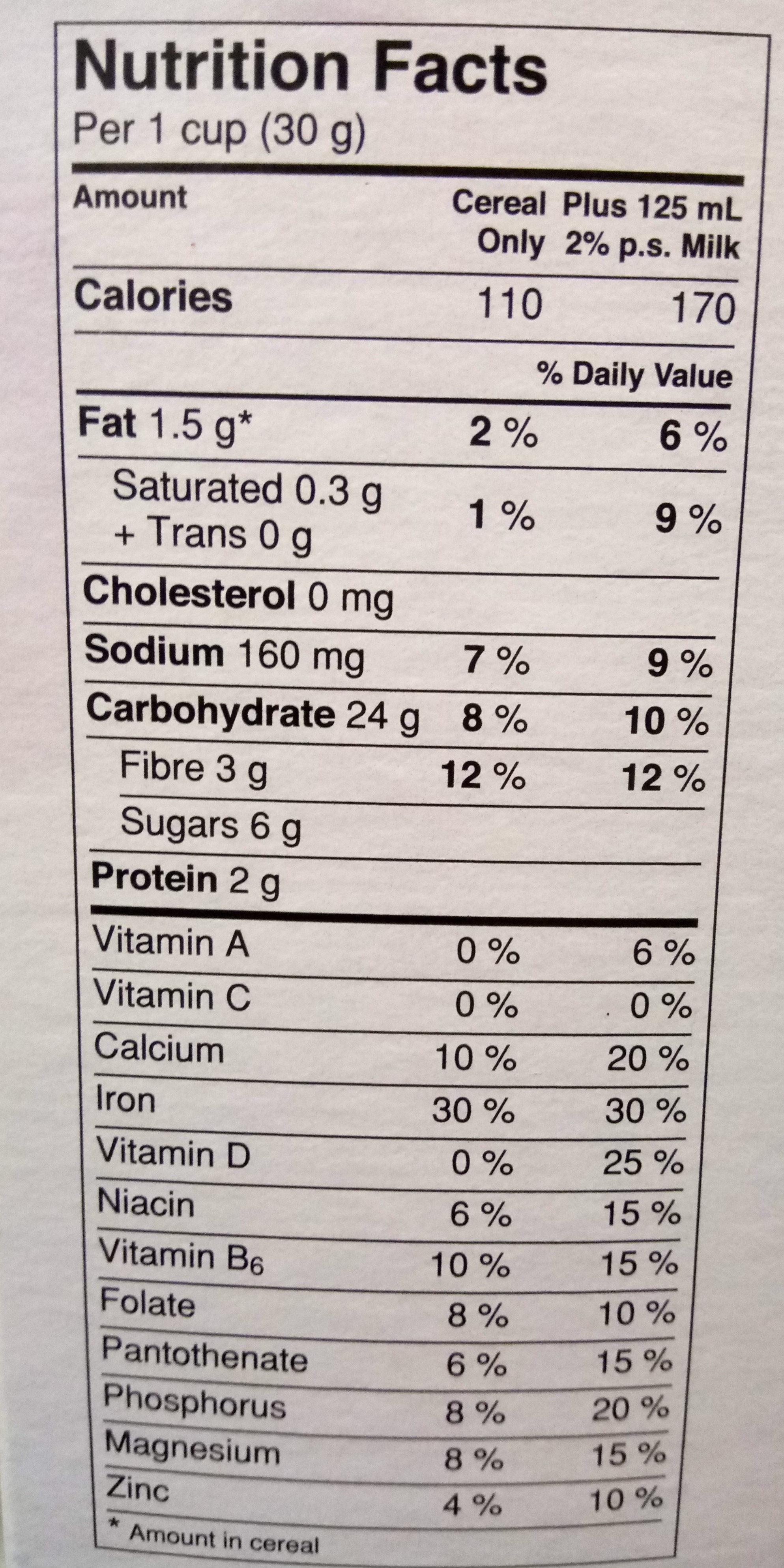 Céréales Cheerios (multi-grain) - Nutrition facts