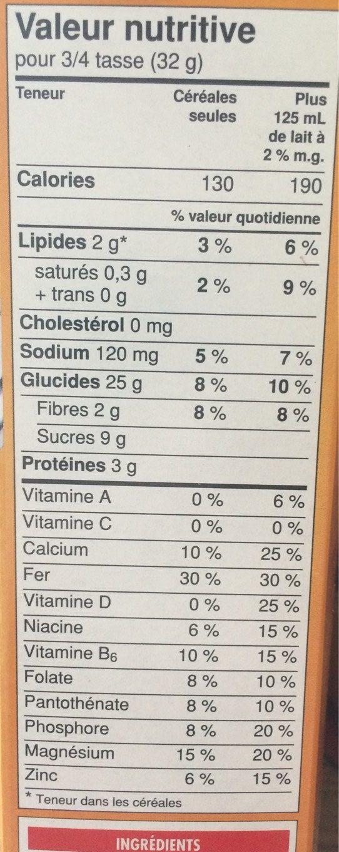 Cheerios au mielet aux noix melange croquant - Voedingswaarden