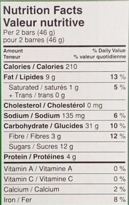 Crunchy Granola Bars Oats 'N' Honey - Informations nutritionnelles - en