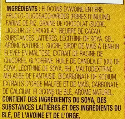 Barres Granola Boîte à Lunch Aux Pépites De Chocolat - Ingrédients - fr