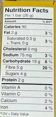 Barres Granola Boîte à Lunch Aux Pépites De Chocolat - Nutrition facts