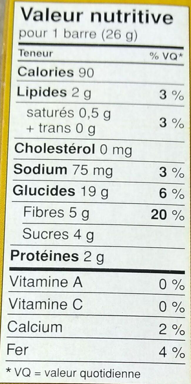 Barres Granola Boîte à Lunch Aux Pépites De Chocolat - Informations nutritionnelles - fr