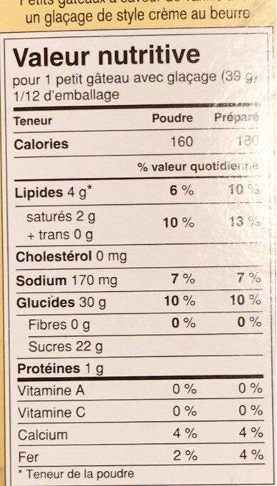 Crème au beurre à la vanille - Nutrition facts - fr