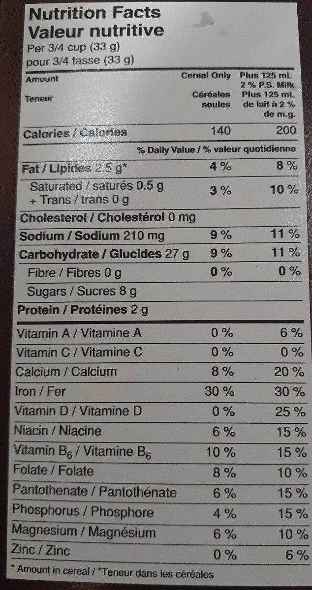 Chocolate Chez - Nutrition facts - fr