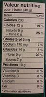 Barres aux protéines - Informations nutritionnelles - fr