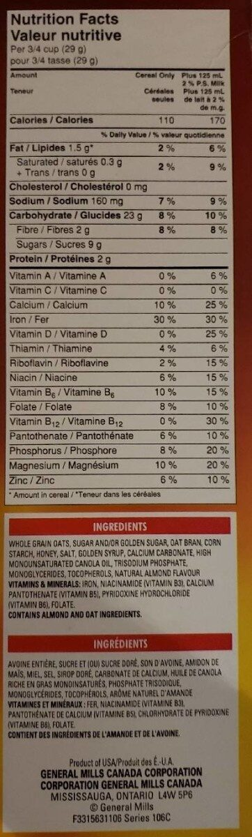 Honey Nut Cheerios - Informations nutritionnelles - fr