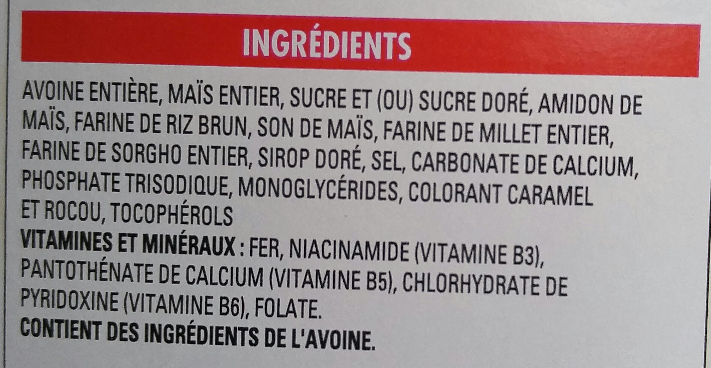 Multi-Grain - Ingrédients