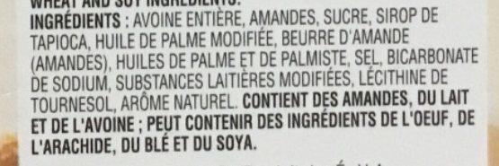 Bouchées Granola au beurre d'amande - Ingredients