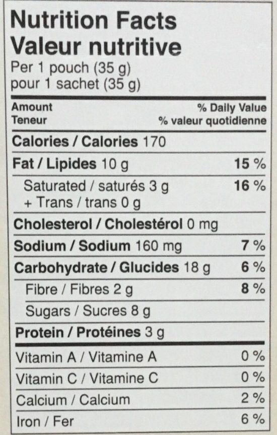 Bouchées Granola au beurre d'amande - Nutrition facts