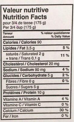 Yogourt 2% - Informations nutritionnelles - fr