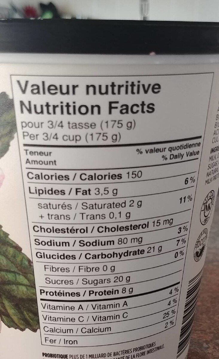 Liberté Organic Raspberry - Informations nutritionnelles - fr