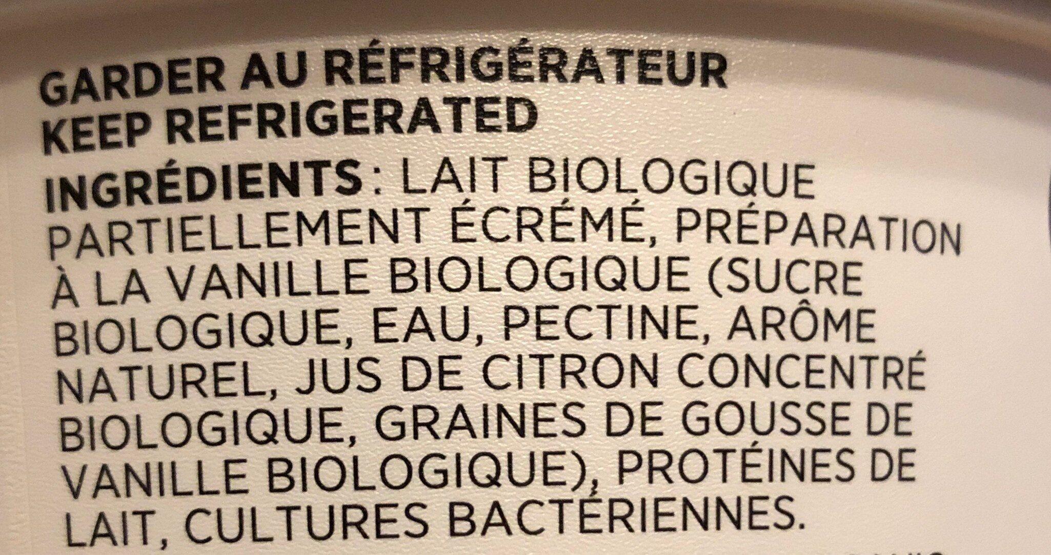 Liberté biologique vanille - Ingrédients - fr